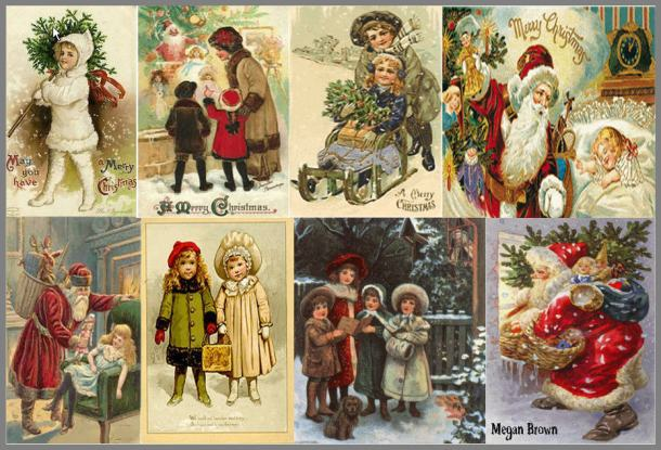 vintage christmas cards collage